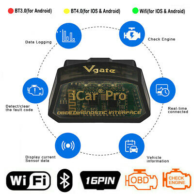 Icar Pro OBD2 Scanner ELM327 Bluetooth Wifi Auto Code Scan Tool For Android IOS