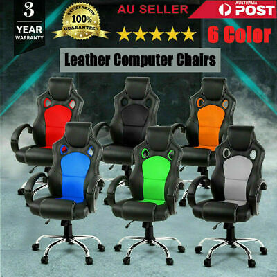 Gaming Chair Office Computer Leather Chairs Racer Executive Seat Mesh AU STOCK
