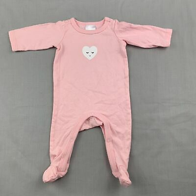 Girls size 00000, Target, pink soft cotton coverall / romper, heart, GUC