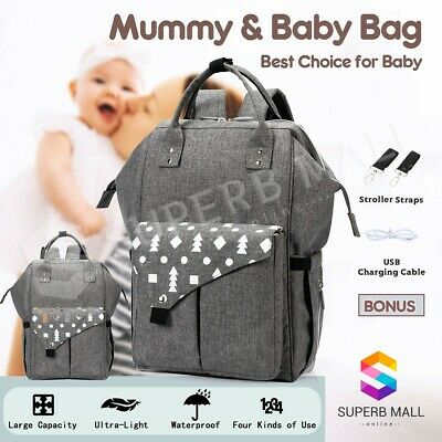 Mother Mummy Baby Changing Bags Nappy Diaper Backpack Shoulder Waterproof Gery