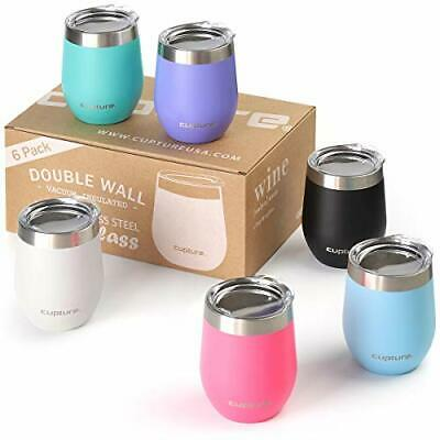 Cupture Stemless Wine Glasses 12 oz Vacuum Insulated Tumbler with Lids - 18/8 St
