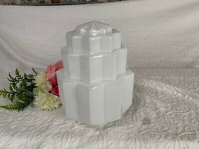 Large~Vintage Art Deco Empire Style Milk Glass Lamp Shade~Light~Archetectural