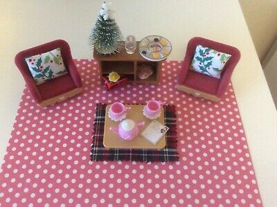 Sylvanian families Christmas decorated living room bundle