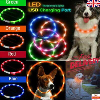 2X USB Rechargeable LED Dog Pet Collar Flashing Adjustable Safety Light Up Tag