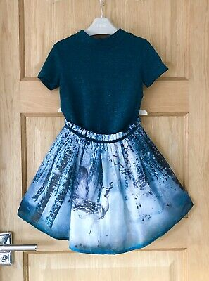 NEXT *4y GIRLS BEAUTIFUL PARTY Woodland Deer Xmas DRESS OUTFIT 4 YEARS