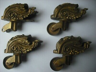 4 ornate solid brass heavy antique table castors - original not repro (damaged)
