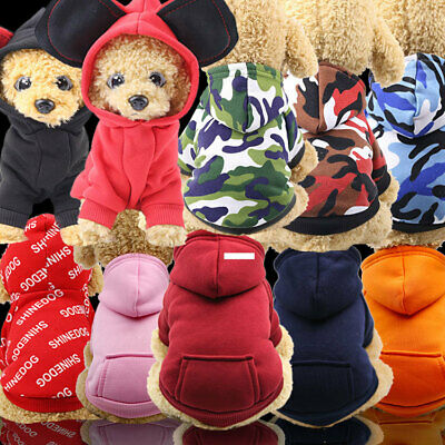 UK Pet Puppy Dog Sweater Teddy Soft Clothes Sports Hoodie Jumper Coat Apparel