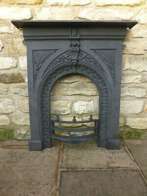 Victorian Cast Iron Fireplace Front with Fixing Lugs, Mantle + Fire Bars