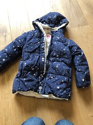 Joules Girl's Winter Coat Age 6 Years Good Condition Navy Stars