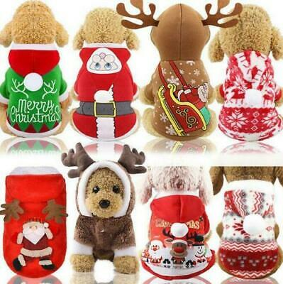Christmas Puppy Outfit Pet Xmas Reindeer Dog Costume Cat Hoodie Clothes Coat UK