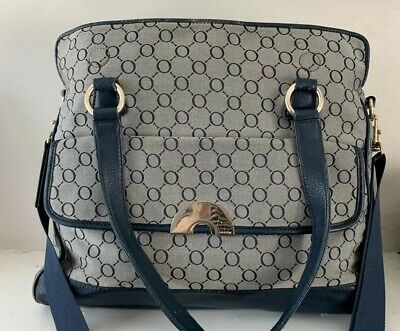 Oroton Signiture O Nappy Bag In Blue / Beige
