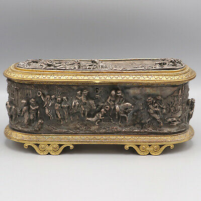 Important Box Jewelry Bronze Embossed L. Oudry Period '800