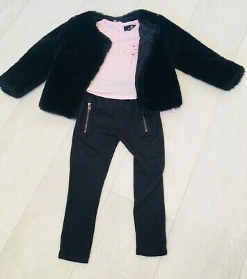 Firetrap Outfit  for Girls 3/4 Years. Includes faux fur Coat, Leggings & Top