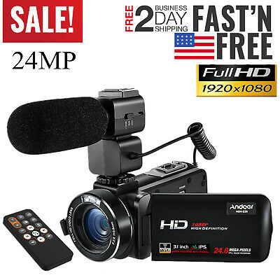 "Andoer 3.0"" Ips 1080P Full Hd 24Mp Wifi Digital Video Camera Camcorder+Mic H1X1"