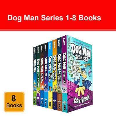 Dog Man Series 1-8 Books Set Children's Collection by Dav Pilkey Fetch-22 NEW