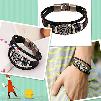 Unisex Women Men Cool Punk Metal Studded Trendy Wristband Leather Bracelet