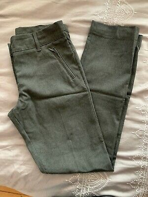 Girls Marks And Spencer Slim Fit Grey School Trousers. Age 13-14 Years.