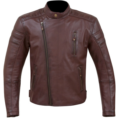 Merlin Lichfield Oxblood Red Mens Heritage Leather Motorcycle Riding Jacket