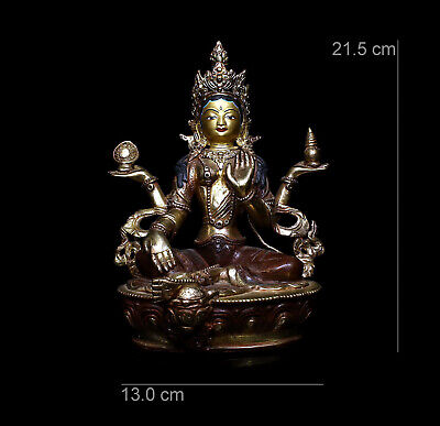 Chinese old Antique Temple bronze gilt  Four arm guanyin Tara goddess statue