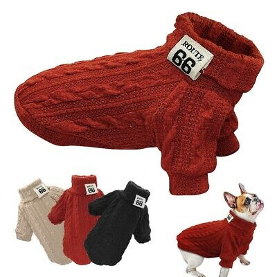 Knitted Dog Sweater Chihuahua Clothes Winter Knitwear Puppy Pet Jumper Z