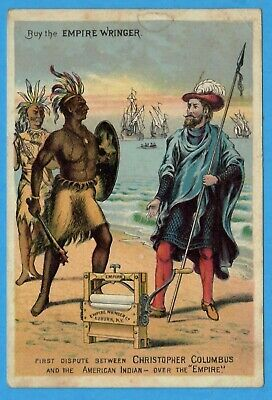 Empire Wringer, Christopher Columbus, Indian Frankfort, NY  Victorian Trade Card
