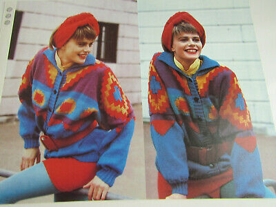 Knitting Patterns for Womans Beautiful Aztec Patterned Jacket DK