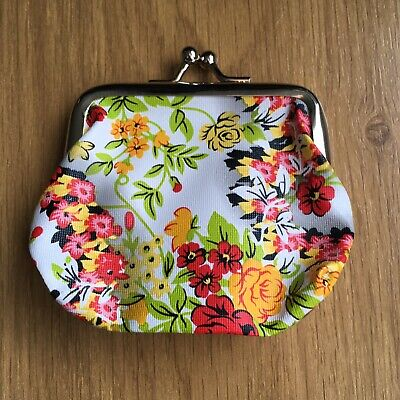 Kids Ladies Bouquet Red Yellow Print Small Coin Purse Xmas Gift Stocking Filler