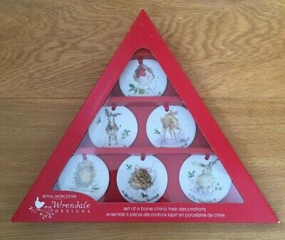 6 X Wrendale Royal Worcester Christmas Decorations Boxed Set Brand New In Box