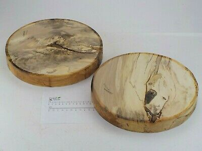 2 English Spalted Beech woodturning or carving bowl blanks. 305 x 40mm. 4075A
