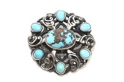 A Lovely Antique Art Deco Sterling Silver 925 Turquoise Brooch #16085