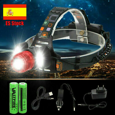 Zoom 18000Lm T6+2xLTS LED Recargable Linterna Cabeza Luz Frontal Lampara Antorch