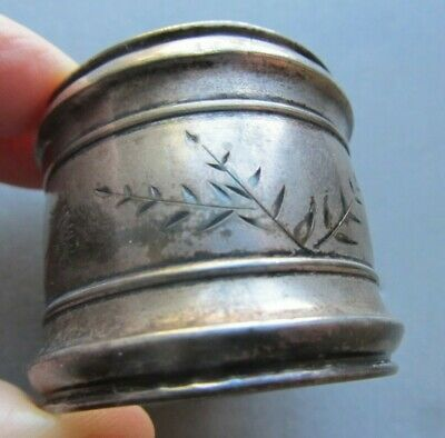 Antique BIRMINGHAM Sterling Silver NAPKIN RING Nature Aesthetic FERNS