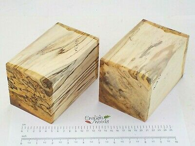2 English Spalted Beech woodturning or carving blanks.  90 x 90 x 150mm.  4097A