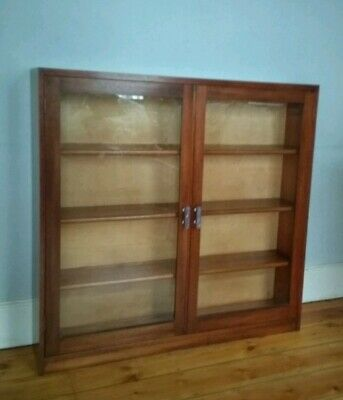 Art Deco oak Glazed Two Door bookcase Display Cabinet