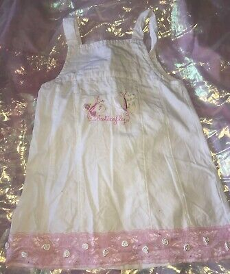 New & Tagged Girls White (Pink 3D Butterflies) Dress Top By Tiar Age 3 years