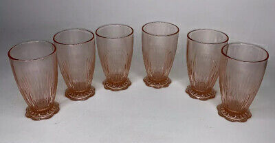 """SIX Pink DEPRESSION GLASS Footed Ridged 5"""" HIGH DRINKING GLASSES"""