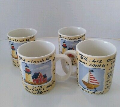 Set Of 4  Thomson Pottery Lighthouse Sailboat Coffee Cups Mugs