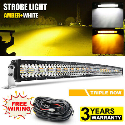 "50"" 2800W Curved Tri-Row LED Light Bar Spot Flood Amber&White Strobe Wiring 52"""