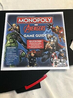 Monopoly Marvel Avengers 2014 Edition Parts: Tokens, Money, Property Card, Board