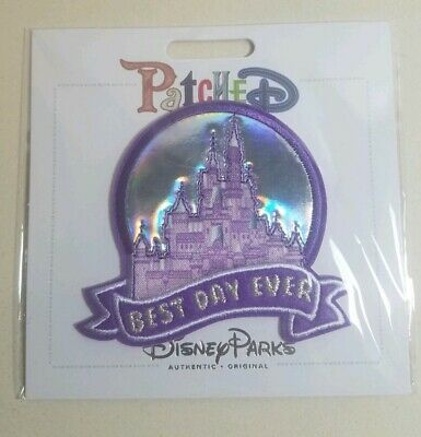 """Disney Parks Patched """"Best Day Ever"""" Castle - Magic Kingdom Adhesive Patch - NEW"""