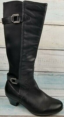 Earth Rider Womens Black Leather Zip Up Tall Stretch Heel Moto Boots Size US 9.5