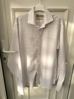 "M&S Mens Long Sleeve Check Pattern Shirt Size 16"" Collar"