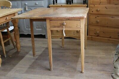 Victorian Scullery Scrub Top Pine Drop Leaf Table With Drawers