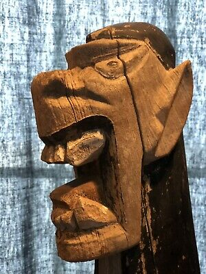 vintage hand carved dragon arctachel Drift Wood salvage Face Carving.