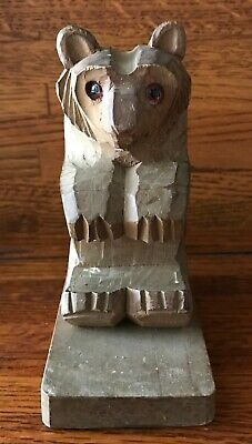 """Vintage Hand Carved Wood Wooden Bear - 5 1/2"""" Tall - Made in Japan"""