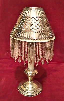 Antique 4 Gorham Silver Plate Candlestick Shades Cloth Mica, sterling holder
