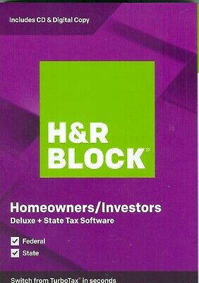 H&R Block 2019 Deluxe Tax Software Federal + State Homeowners/Investors PC/MAC