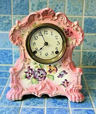 Antique Ansonia Porcelain Royal Bonn Case Clock 1880s