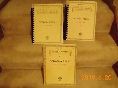 Schirmer's Library of Musical Classics -Sonata - Piano Music Books - Lot of 3