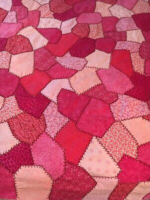 """Shades of Pink Crazy Quilt Top - 46"""" X 43"""""""